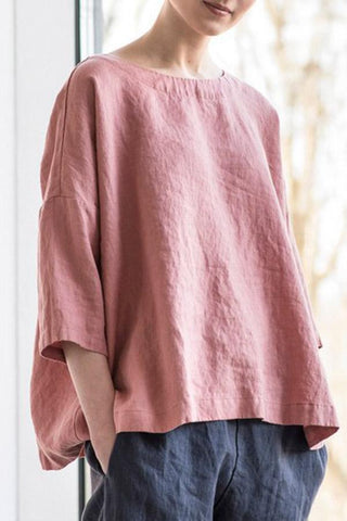 Women's Cotton Linen Comfy Blouse Tunic Top Loose Bat Sleeve Shirt Casual Plus Size Shirt Blouse