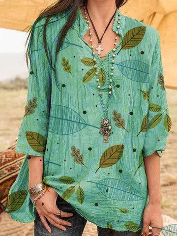 Boho Style Vintage Plus Size Vacation Casual Manches Chemises Blouses