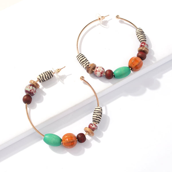 Bohemian Colorful Wood Beads Hoop Earrings for Women Ethnic Statement Circle Earrings Party Gifts Jewelry