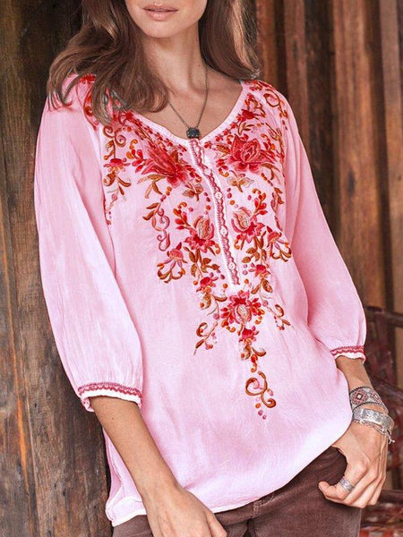 Floral-print Long Sleeve Buttoned Blouses & Tops-Top-Wotoba-Pink-S-Wotoba