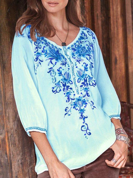 Floral-print Long Sleeve Buttoned Blouses & Tops-Top-Wotoba-Blue-S-Wotoba