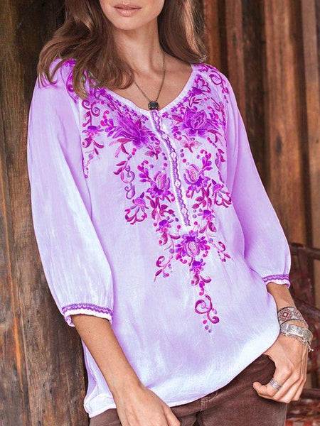 Floral-print Long Sleeve Buttoned Blouses & Tops-Top-Wotoba-Purple-S-Wotoba