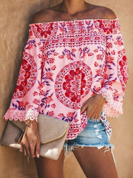 Printed Casual Off Shoulder Shirts & Tops-Top-Wotoba-Pink-S-Wotoba