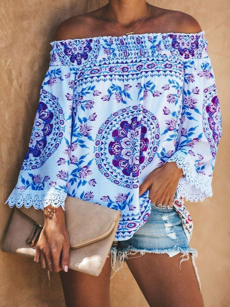 Printed Casual Off Shoulder Shirts & Tops-Top-Wotoba-Blue-S-Wotoba