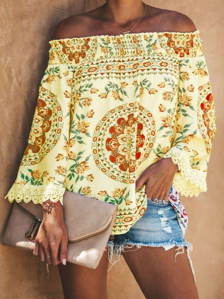 Printed Casual Off Shoulder Shirts & Tops-Top-Wotoba-Yellow-S-Wotoba
