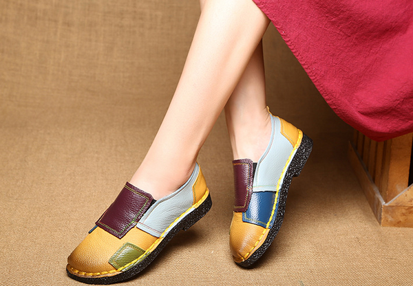 Ethnic Style Retro Soft Leather Comfy Daily Flat Loafer Daily Shoes