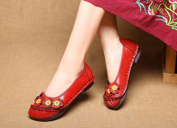 Retro Handmade Genuine Leather Stitching Flower Candy Color Flat Comfy Daily Loafer Shoes