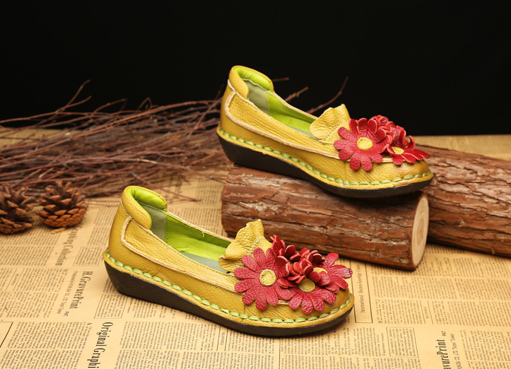 Vintage Handmade Genuine Leather Flower Stitching Flat Loafer Daily Shoes Bohemian Shoes
