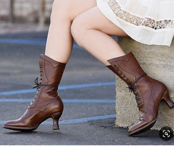 Women Boots Vintage Casual Lace-Up Low Heel Closed Toe Ruched Boots-Shoe-Wotoba-Brown-35-Wotoba