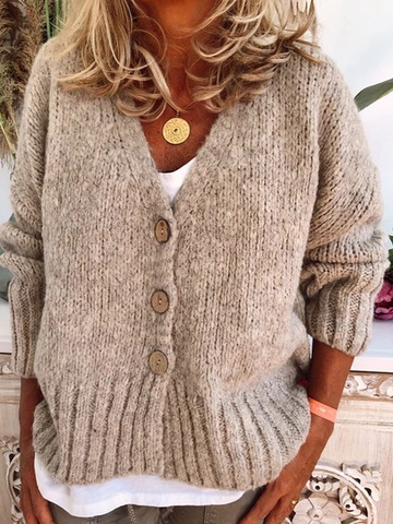 Plus Size Buttoned V Neck Casual Cardigan Chunky Sweater Outerwear