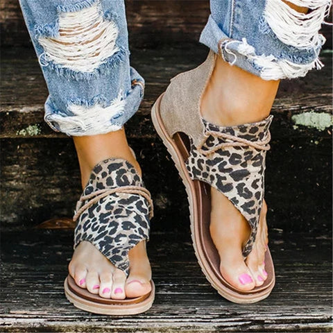 Women Sandals Leopard Print Summer Comfy Footwear Women Large Size Flat Women Sandals Women's Summer Shoes Sandals