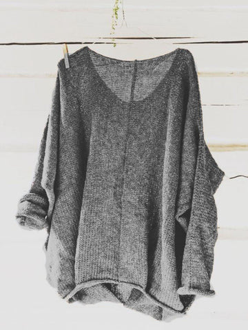 Plus Size Casual Knitted Long Sleeve V neck Solid Blouse
