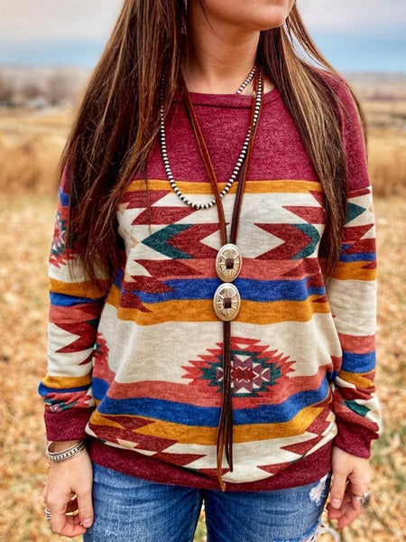 Women's Vintage Geometric Long Sleeve Boho Style Casual Shirts & Tops