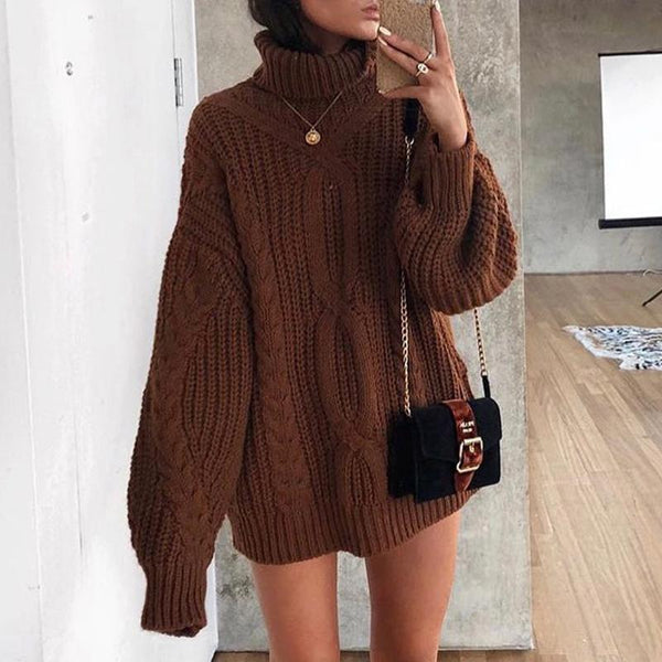 Casual Plus Size Casual Loose Turtleneck Chunky Sweater