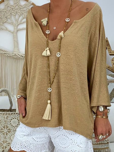 Casual V Neck Solid Cotton Shirts & Tops