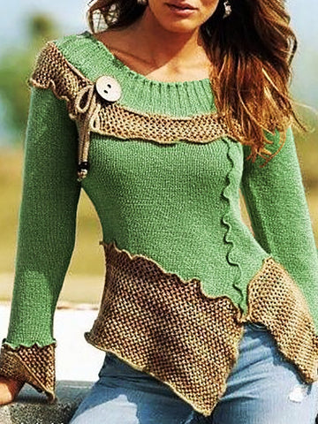 Women's Vintage Style Crew Neck Shift Long Sleeve Sweater