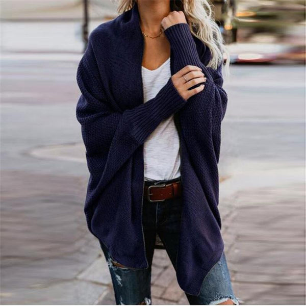 Casual Plus Size Bat Sleeve Solid Color Knit Cardigan Sweater