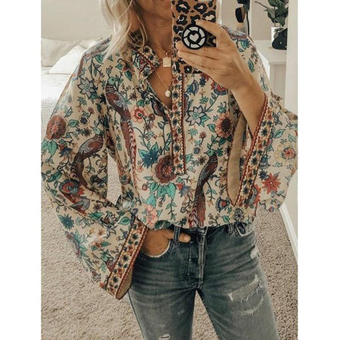 Floral Print V-Neck Ruffle Long Sleeve Loose Plus Size Blouses