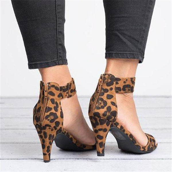 Summer Sandals Ankle Strap Med Heel Sandal leopard Shoes