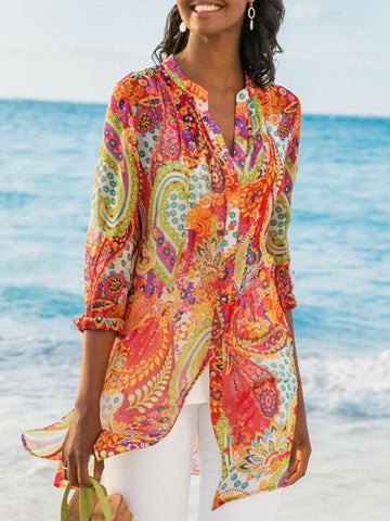 Geometric Printed Casual Loose Plus Size Chiffon Blouse Shirts