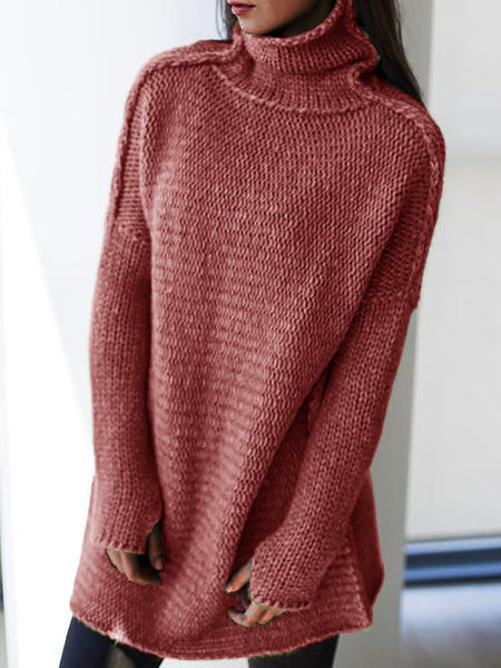 Women Knitted Casual Turtleneck Long Sleeve Sweaters Plus Size Pullovers-TOPS-Wotoba-Red-S-Wotoba