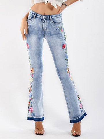 70s Retro Steric Embroidered Bell-bottoms Jeans Denim Pants