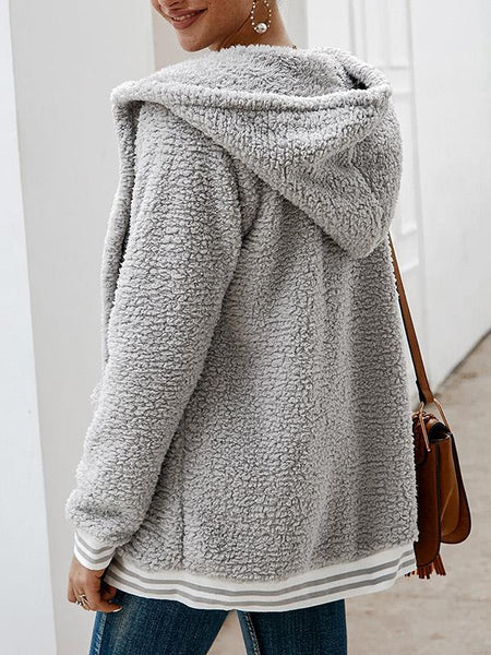 Solid Hoodie Flocking Coat Fuzzy Plus Size Outerwear