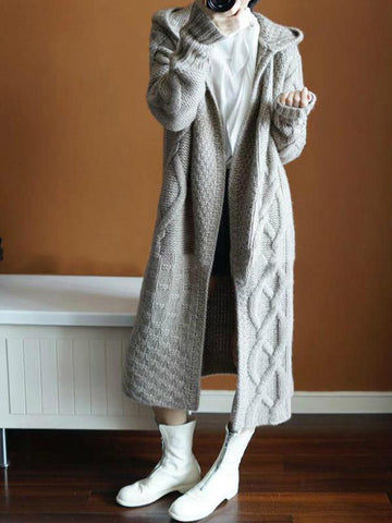 Hooded Cashmere Cardigan Long Casual Sweater Outerwear