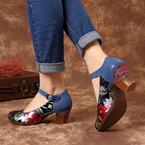 Genuine Leather Ankle Strap Pumps Round Toe Soft Leather Casual Shoes