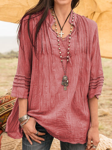 Boho Guipure Lace Linen Long Sleeve Blouse Tops