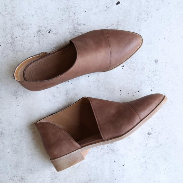 Fashion Retro Pointed Shallow Flat Loafers Sole Shoes