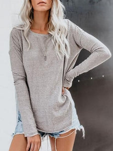 Plus Size Casual Crew Neck Long Sleeve Tops
