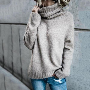 Women's Comfy Plus Size Casual Turtle Neck  Plain Warm Chunky Sweaters