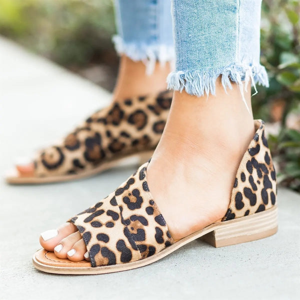 Peep Toe Leopard Sandals Casual Flat Sandal Shoes