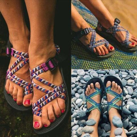Vintage Colorful Braid Cross Strap Flat Sandal