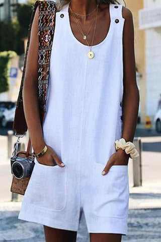 Casual Vacation Style Round Neck Sleeveless Patch Pocket Jumpsuit Romper