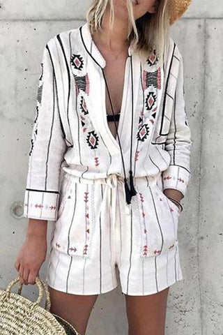 Vintage Turndown Collar Loose Ethnic Printed Color Jumpsuits