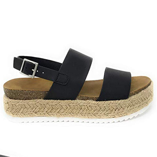 Large Size Platform Grass Sandals Flat Loafers