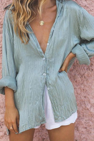 V Neck Casual Vacation Single-Breasted Long Sleeve Pure Color Shirt Blouse