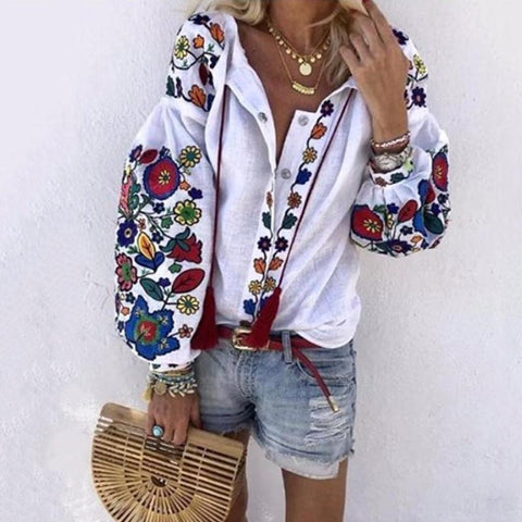 Women's Athleisure Single-Breasted Floral Embroidery Blouse