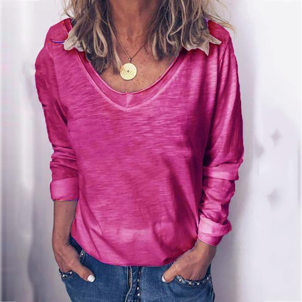 Casual V-Neck Plain Loose Long Sleeve Blouse