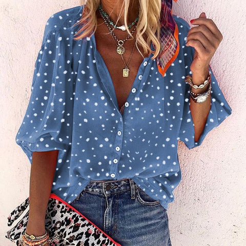 Boho Style Vintage Plus Size Vacation Casual Polka Dot Turndown Collar Loose Chiffon Blouse