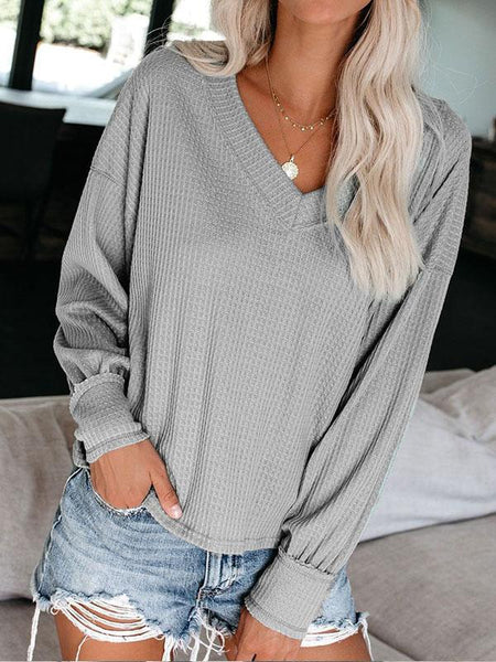 Casual V-Neck Long Sleeve Solid Color Knitted Shirt