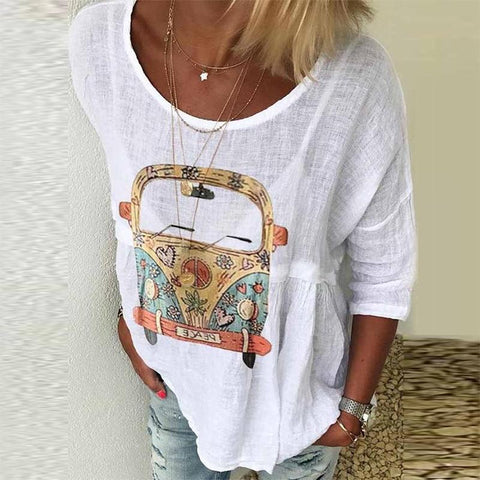 Women's Comfy Plus Size Casual Printed Round Neck Short Sleeve Loose Shirt