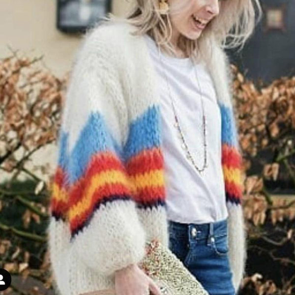 Fashion Casual Color Stripe Long Sleeve Knit Sweater Cardigans