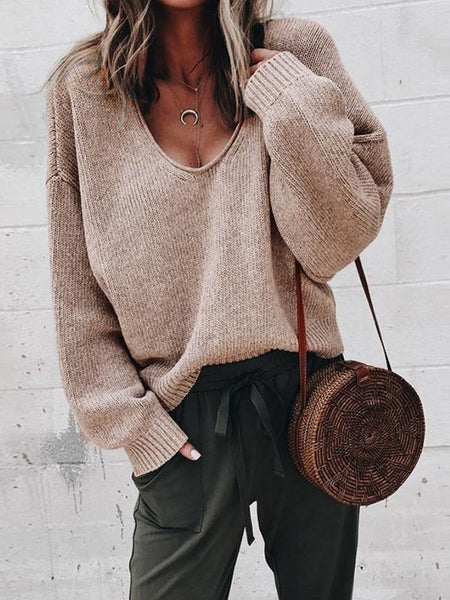 Casual Ladies Sweater V-Neck Long Sleeves Solid Color Loose Sweater Bottoming Knitwear Shirt