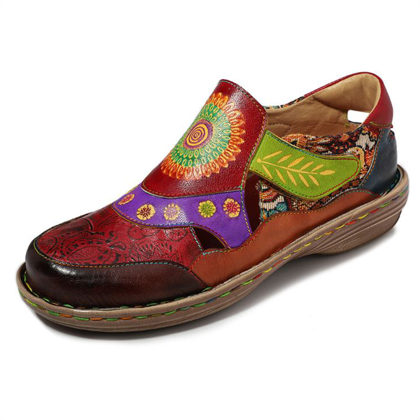 Retro Handmade Genuine Leather Floral Casual Sandals Flat Loafer Soft Comfy Daily Shoes