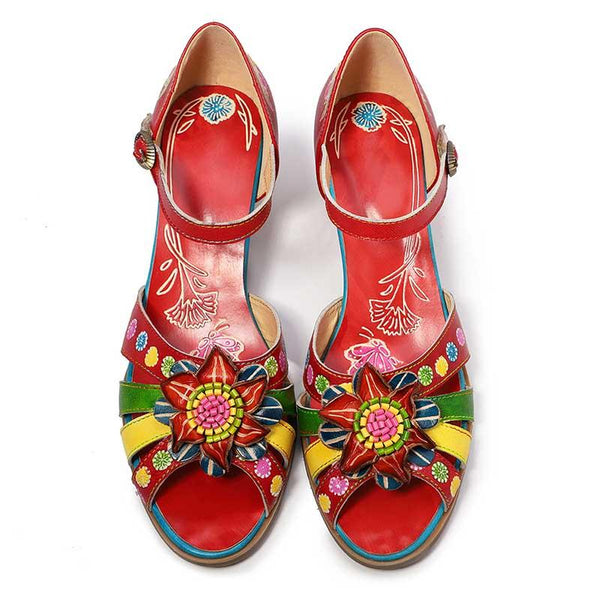 Retro Handmade Genuine Leather Adjustable Velcro Flower Comfy Soft Daily Sandals