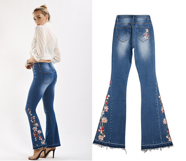 Blue Casual Floral Embroidery Buttoned Bell-Bottom Jeans Denim Pants