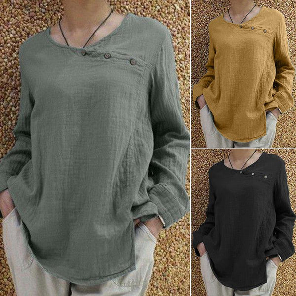 Women's Comfy Plus Size Long Sleeve Casual Buttoned Blouse Tops